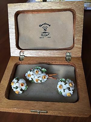 Vintage Capodimonte Porcelain Floral Pin Brooch & Earring Set - Naples Italy