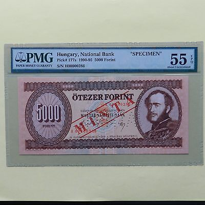 1990 Hungary 5000 Forint, Specimen, Pick # 177s, PMG 55 EPQ About Uncirculated