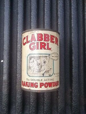 Vintage Clabber Girl Baking Powder 10 oz. CAN WITH CONTENTS ESTATE FIND
