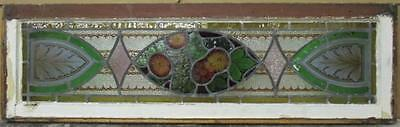 """LARGE OLD ENGLISH LEADED STAINED GLASS WINDOW Victotian Handpainted 40"""" x 12"""""""