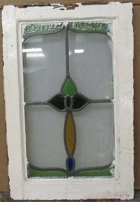 """OLD ENGLISH LEADED STAINED GLASS WINDOW Pretty Floral Abstract 13.75"""" x 21.25"""""""