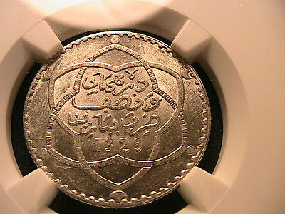 MOROCCO 1902 / 1329 PA  1/4 RYAL  NGC MS-63 SCARCE TYPE Africa Siver Coin