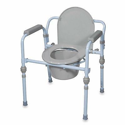 Portable Folding Bedside Commode Handicapped Toilet Seat Safety Potty Chair Aid