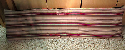 Antique Maroon & Brown Ticking Fabric Feather Bolster Pillow
