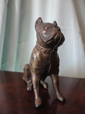 Bull DOG Cast Iron Bank Figurine Paper Weight Vintage