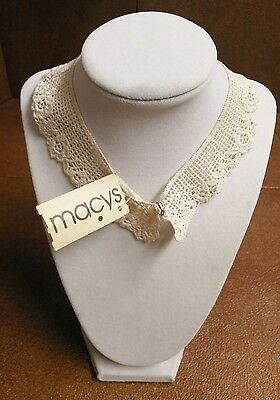 "Vintage Hand crochet Lace Collar Cream w/ Original Tag ""EXCELLENT"""