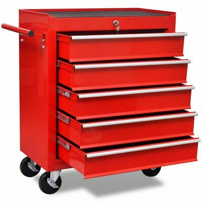 B#Red Workshop Tool Cabinet Cart Wheel Trolley Tools Tray 5 Drawers Lockable