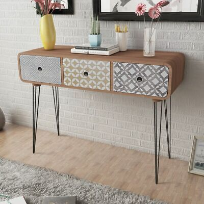B#Side Cabinet Sideboard Console Hall Table Console Cabinet W/ 3 Drawers Brown