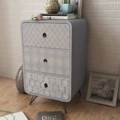B#Bed Cabinet Nightstand Side Cabinet Telephone Cabinet Bedside W/ 3 Drawers Gre