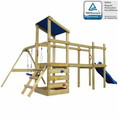 B#Wooden Playhouse Set with Ladder Slide Swings Kids Outdoor Garden Playground