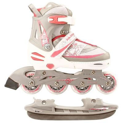 B#Nijdam Inline Combo Ice Skates31-34 White/Silver/Pink 52SZ Blades Adjustable