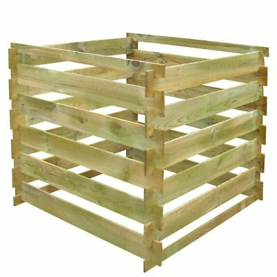 B#Square Slatted Wooden Compost Bin 0,54 m3 Recycle Garden Kitchen Waste