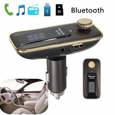 Bluetooth 4.0 Wireless Auto FM Transmitter NFC Dual USB 2.1A MP3 Stereo 3.5 AUX