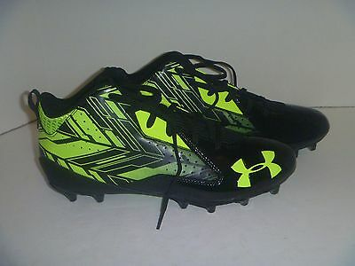 New Men's Under Armour Ripshot Mid MC Cleats Black Volt Size 12