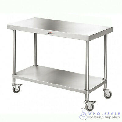 Mobile Workbench with Undershelf 2400x600x900mm Kitchen Simply Stainless Prep
