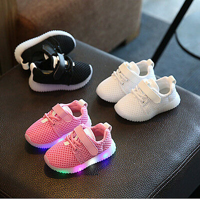Unisex Baby Boys Girls Child Kids LED Light Shoes Breathable Soft Flash Sneakers