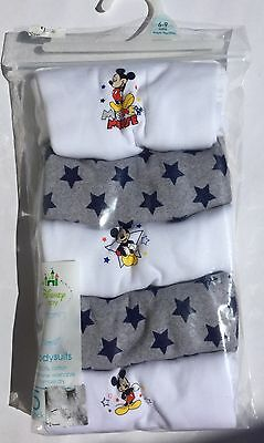 5 pack Baby Boy Short Sleeve Body Suits with Disney Mickey Mouse detail