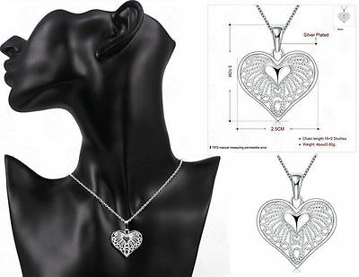 Pendant Chain Necklace New Charm Jewelry Silver Colour Crystal Women Heart Hot