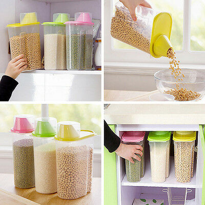 1.9L 3 Colors Plastic Kitchen Food Cereal Grain Bean Rice Storage Container Box