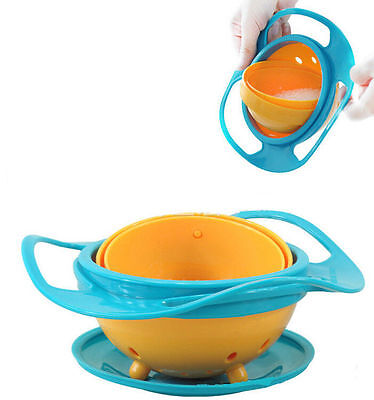 Baby Non Spill Gyro Bowl 360 Rotating Spilling New Avoid Food Toddler Feeding