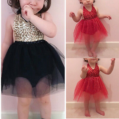 US Stock Baby Girl Sequins Romper Dress Bow Tutu Party Formal Bridesmaid Dresses