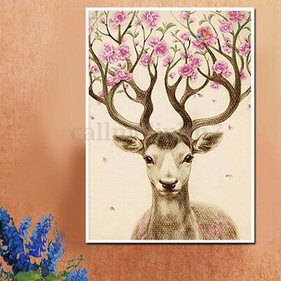 5D Diamond Painting DIY Embroidery Colorful Deer Cross Crafts Stitch Home Decor