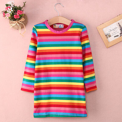 AU STOCK Kids Baby Girls Rainbow Striped Dress Casual Long Sleeve Skirt Clothes