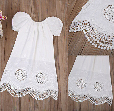 US STOCK Toddler Baby Kids Girls Summer Dress Casual  White Dress Cotton Dress