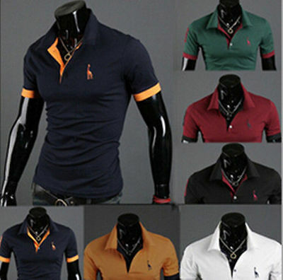 Mens Fashion Casual Style Short Sleeve T-shirt Slim Fit POLO Shirt Hot Tops Tee