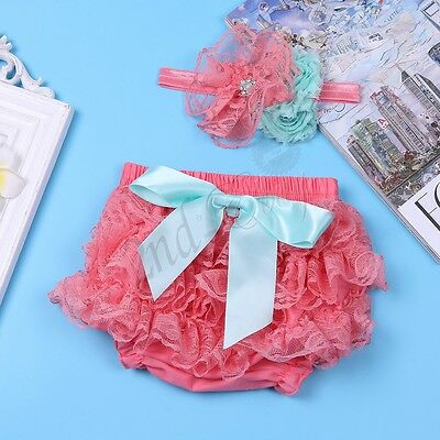 Baby Girl Outfit Bloomer Panties Shorts Diaper Cover Headband Photography Prop