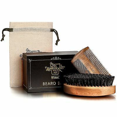 BFWood Beard Brush With Boar Bristle Comb Set Military Style Suitable For Men