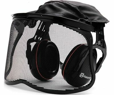 Husqvarna ear defenders with mesh visor for use with brushcutters / strimmers