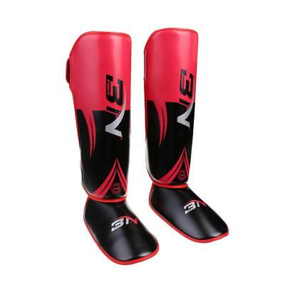 Boxing Shin Instep Pads MMA Leg Foot Guards Sparring Muay Thai Leg Guard Red