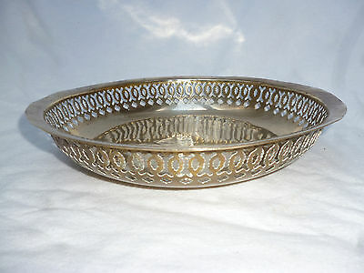 VINTAGE LARGE BRASS BOWL with PIERCED EDGE for FRUIT, NUTS etc  - 26cm diameter