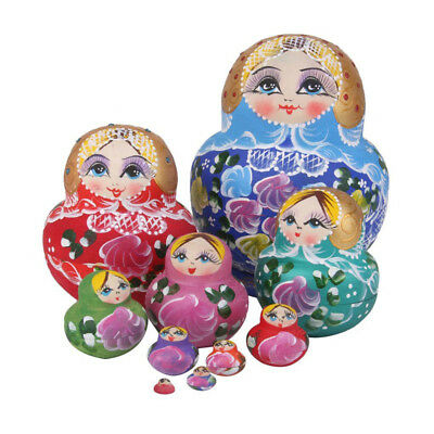 10Pcs Wooden Nesting Dolls Matryoshka Babushka Russian Girl Hand Painted Doll
