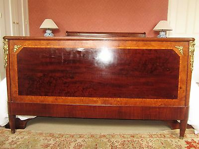 Antique French Burr Walnut & Ormolu Footboard for Double Bed