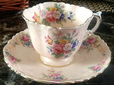 Aynsley Pink Cup & Saucer Rose & Wild Flowers Bouquet Square Moulded & Embossed