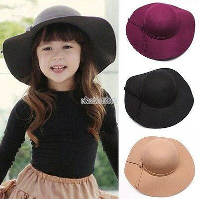 Stylish Kids Girls Wide Brim Retro Felt Bowler Floppy Cap Cloche Wide Brim Hat F