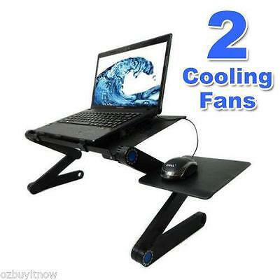 Portable Folding Laptop Bed Couch Lap Desk Table 2 x Cooling Fans Mouse Holder