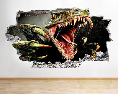 Wall Stickers Scary Dinosaur Cool Bedroom Smashed Decal 3D Art Vinyl Room C146