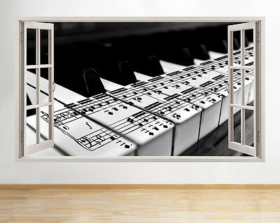 Wall Stickers Piano Keys Music Notes Cool Window Decal 3D Art Vinyl Room C241