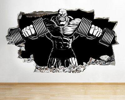 C121 Bodybuilder Gym Exercise Cool Smashed Wall Decal 3D Art Stickers Vinyl Room