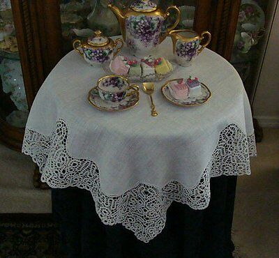 "FAB Antique HAND MADE Bobbin Lace Linen Tablecloth Topper 35""  PRISTINE"