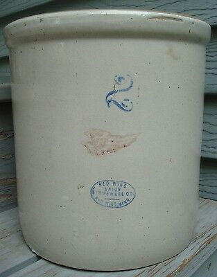 Antique 2 Gallon Red Wing Crock ~ Small Wing ~ Red Wing Union Stoneware Co. Minn