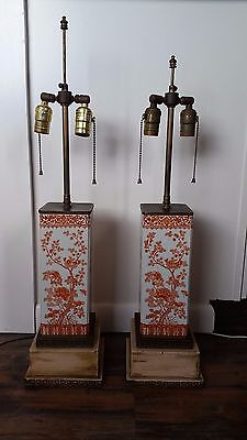 Antique Pair of Chinese Iron Red Porcelain Famille Rose Vases Converted to Lamps