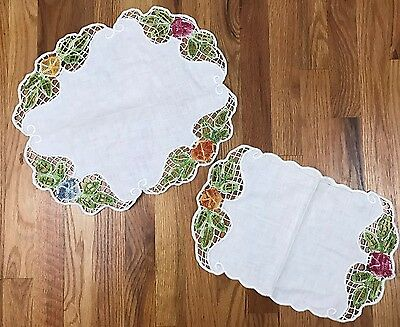 VTG Lot Of 2 Dresser Runner Scarf Cut Out Floral Scalloped Edge Flowers AA