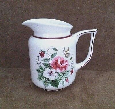 Vintage KNOWLES Pink Rose Yellow Butterfly Maroon Band Creamer Made in USA
