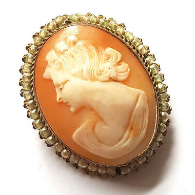Antique Edwardian Real Carved Shell Cameo Brooch Pin Badge Pendant Steampunk