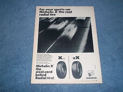 "1969 Michelin X Radial Tires Vintage Ad ""For Your Sports Car...."""