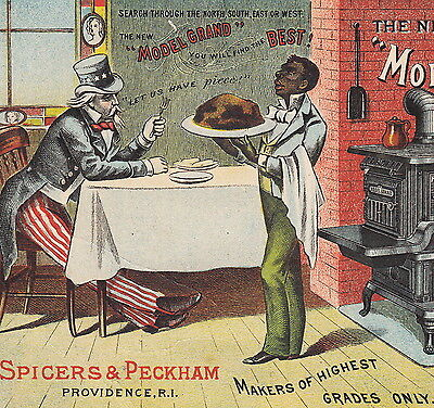 Uncle Sam Black Slave post-Civil War Reconstruction Stove Advertising Trade Card